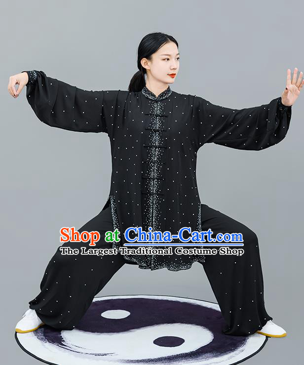 Professional Tai Chi Competition Diamante Costume Tai Ji Training Outfits Clothing Top Grade Martial Arts Black Uniform for Women
