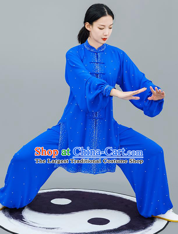 Professional Tai Chi Competition Diamante Costume Tai Ji Training Outfits Clothing Top Grade Martial Arts Royalblue Uniform for Women