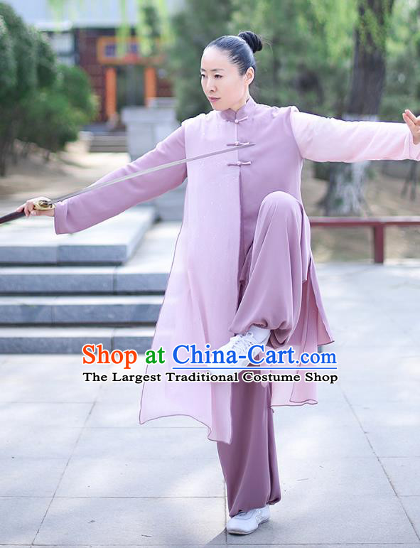 Professional Tai Chi Competition Costume Tai Ji Training Outfits Clothing Top Grade Martial Arts Lilac Uniform for Women