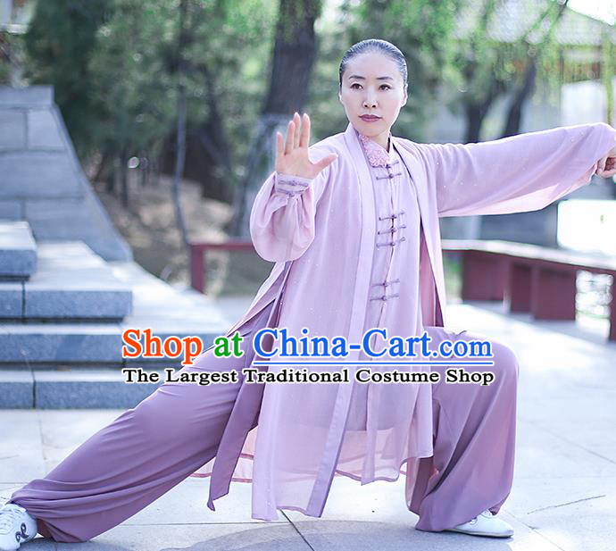 Chinese Traditional Tai Chi Competition Costume Professional Tai Ji Training Outfits Clothing Top Grade Martial Arts Lilac Uniform for Women