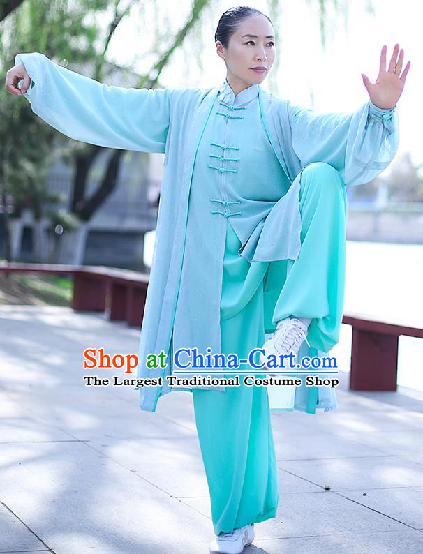 Chinese Traditional Tai Chi Competition Costume Professional Tai Ji Training Outfits Clothing Top Grade Martial Arts Light Green Uniform for Women