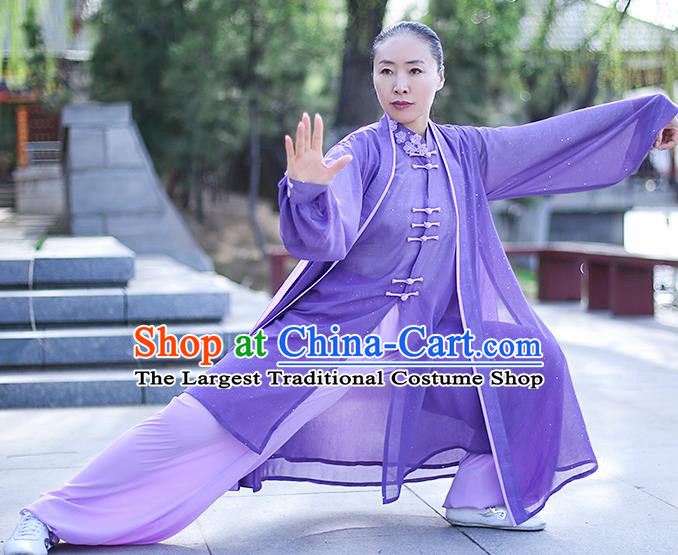 Chinese Traditional Tai Chi Competition Costume Professional Tai Ji Training Outfits Clothing Top Grade Martial Arts Purple Uniform for Women