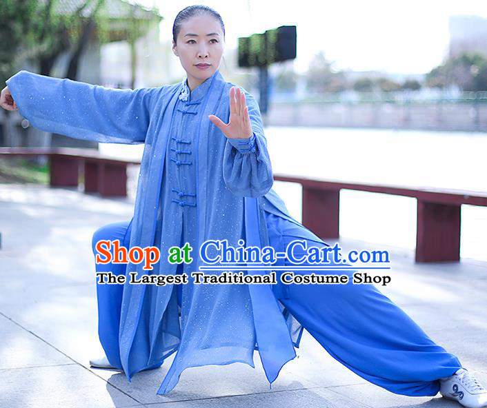Chinese Traditional Tai Chi Competition Costume Professional Tai Ji Training Outfits Clothing Top Grade Martial Arts Blue Uniform for Women