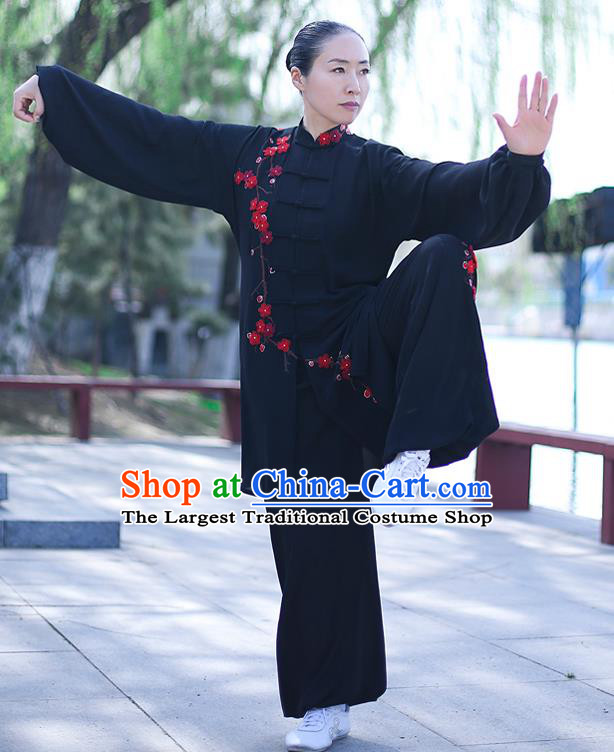 Chinese Traditional Tai Chi Competition Black Costume Professional Tai Ji Training Outfits Top Grade Martial Arts Uniform for Women