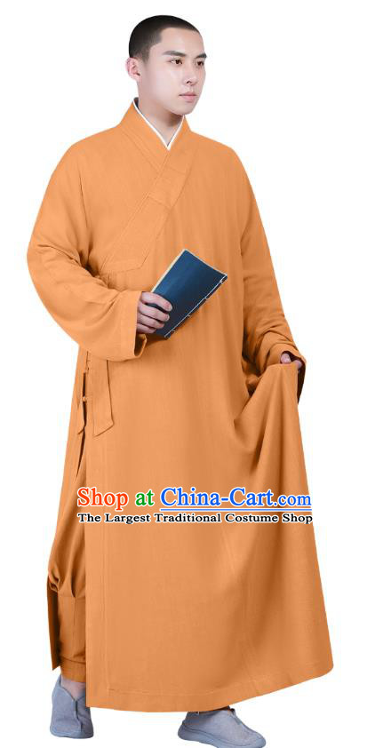 Chinese Traditional Buddhism Costume Shaolin Monk Clothing Ginger Frock Robe for Men