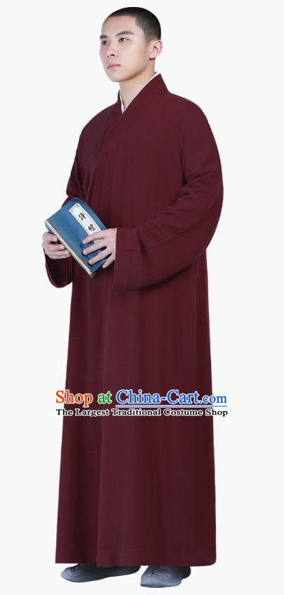 Chinese Traditional Buddhism Costume Shaolin Monk Clothing Wine Red Frock Robe for Men
