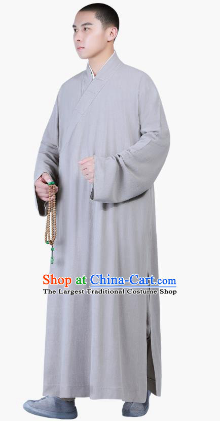 Chinese Traditional Buddhism Costume Shaolin Monk Clothing Grey Frock Robe for Men