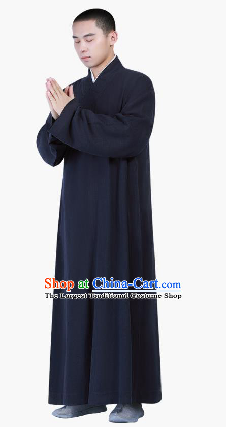 Chinese Traditional Buddhism Costume Shaolin Monk Clothing Navy Frock Robe for Men