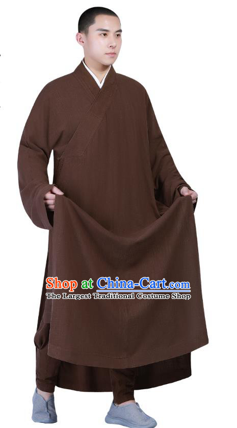 Chinese Traditional Buddhism Costume Shaolin Monk Clothing Brown Frock Robe for Men