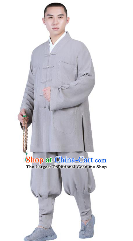 Chinese Traditional Buddhism Costume Shaolin Monk Clothing Grey Blouse and Pants Complete Set for Men