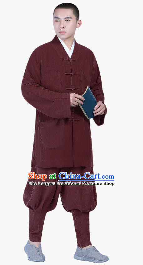 Chinese Traditional Buddhism Costume Shaolin Monk Clothing Wine Red Blouse and Pants Complete Set for Men