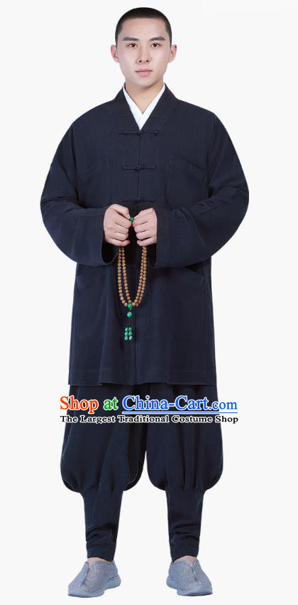 Chinese Traditional Buddhism Costume Shaolin Monk Clothing Navy Blouse and Pants Complete Set for Men