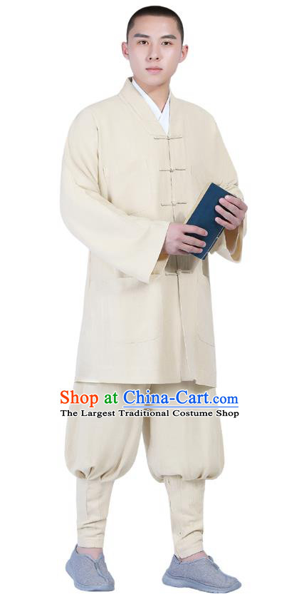Chinese Traditional Buddhism Costume Shaolin Monk Clothing Beige Blouse and Pants Complete Set for Men
