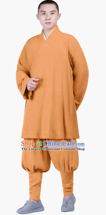 Chinese Traditional Shaolin Monk Costume Buddhism Clothing Ginger Slant Opening Blouse and Pants Complete Set