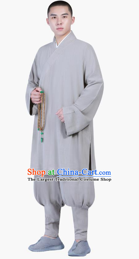 Chinese Traditional Shaolin Monk Costume Buddhism Clothing Grey Slant Opening Blouse and Pants Complete Set