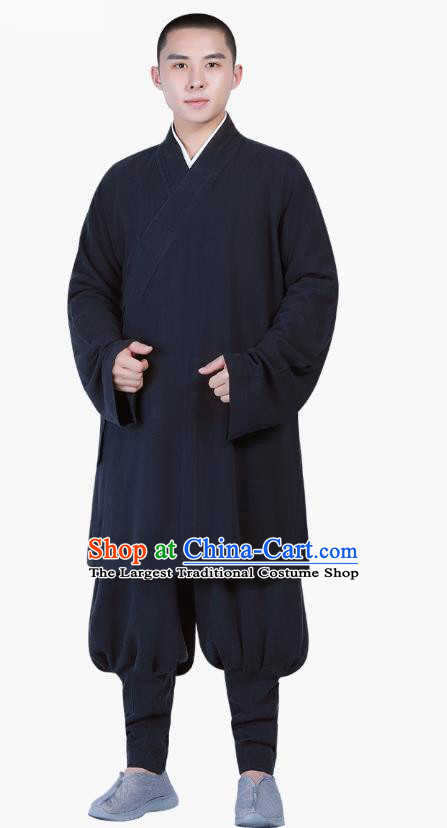 Chinese Traditional Shaolin Monk Costume Buddhism Clothing Navy Slant Opening Blouse and Pants Complete Set