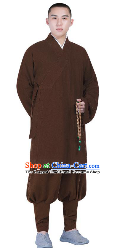 Chinese Traditional Shaolin Monk Costume Buddhism Clothing Brown Slant Opening Blouse and Pants Complete Set