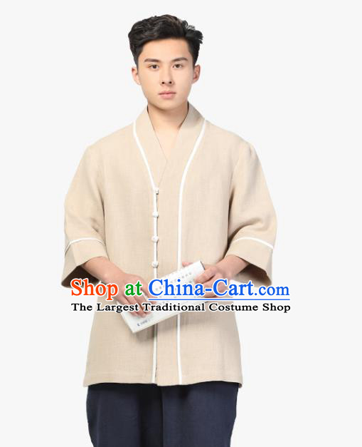 Chinese Traditional Tang Suit Costume National Clothing Beige Ramie Shirt for Men
