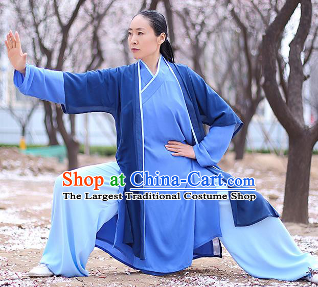 Chinese Traditional Tai Chi Competition Costume Professional Martial Arts Training Outfits Top Grade Tai Ji Performance Navy Uniform for Women