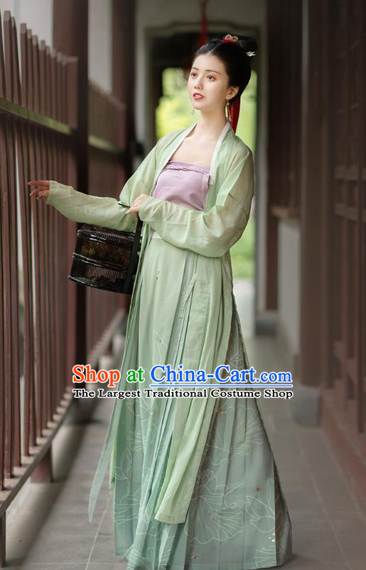 Chinese Ancient Village Lady Hanfu Dress Traditional Song Dynasty Country Women Historical Costumes