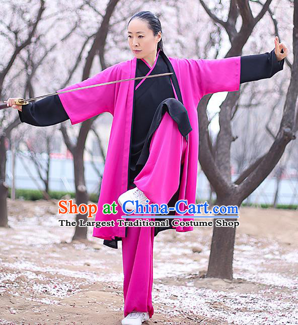 Chinese Traditional Tai Chi Competition Costume Professional Martial Arts Training Outfits Top Grade Tai Ji Performance Rosy Uniform for Women