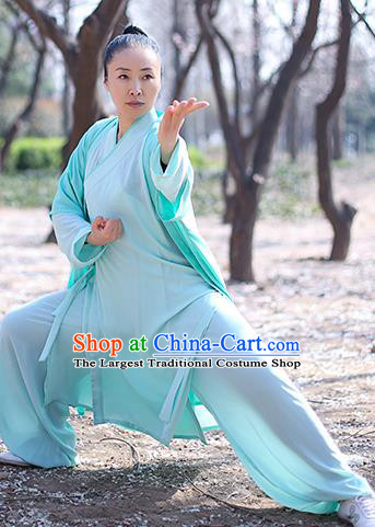 Chinese Traditional Tai Chi Competition Costume Professional Martial Arts Training Outfits Top Grade Tai Ji Performance Light Green Uniform for Women