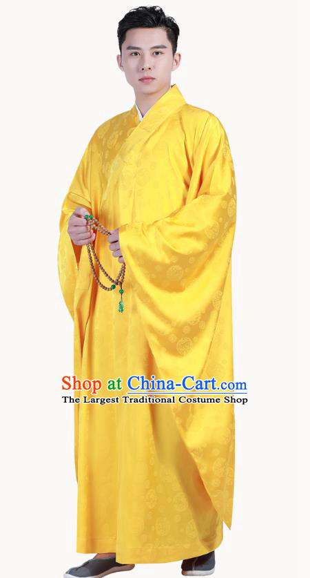 Chinese Traditional Golden Silk Frock Costume Buddhism Clothing Monk Robe Garment for Men