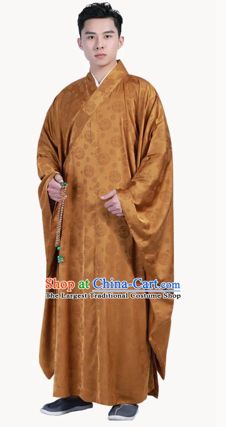 Chinese Traditional Ginger Silk Frock Costume Buddhism Clothing Monk Robe Garment for Men
