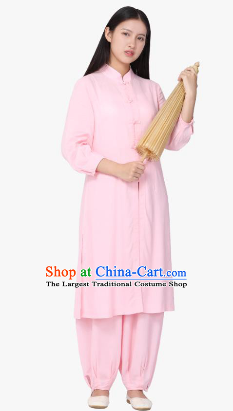 Chinese Traditional Meditation Costume Top Grade Tai Ji Uniforms Professional Tang Suit Pink Zen Outfits for Women