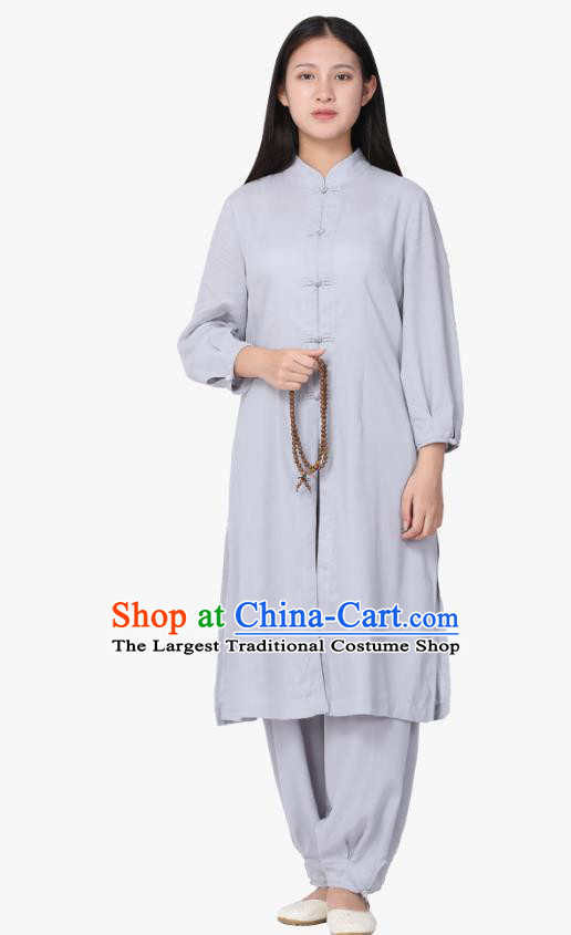Chinese Traditional Meditation Costume Top Grade Tai Ji Uniforms Professional Tang Suit Grey Zen Outfits for Women