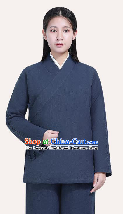 Chinese Traditional Lay Buddhist Costume Top Grade Tai Ji Uniforms Professional Tang Suit Women Navy Ramie Meditation Outfits