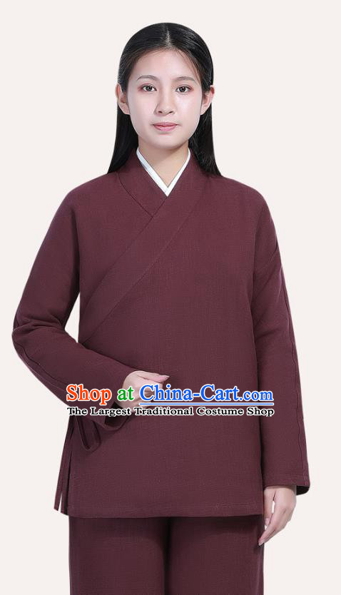 Chinese Traditional Lay Buddhist Costume Top Grade Tai Ji Uniforms Professional Tang Suit Women Wine Red Ramie Meditation Outfits