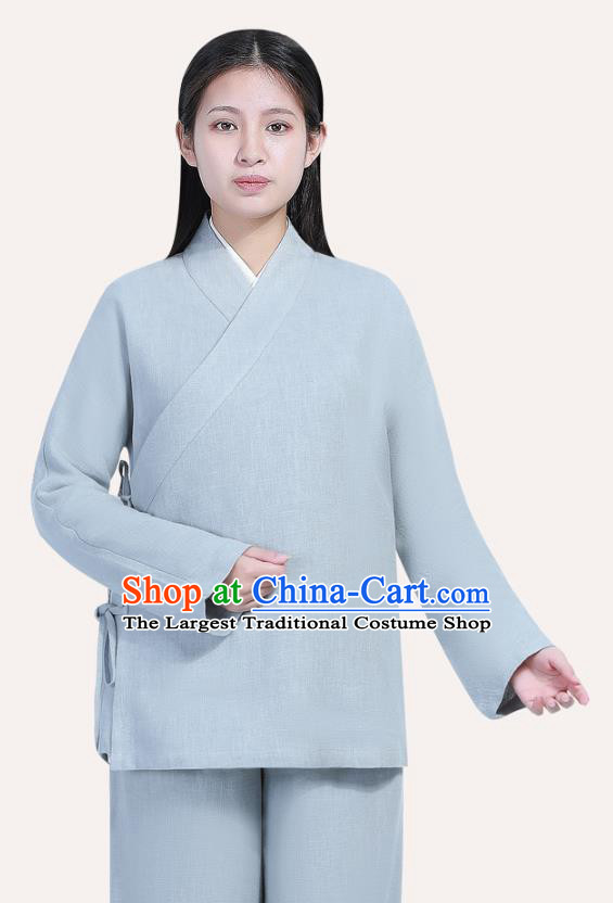 Chinese Traditional Lay Buddhist Costume Top Grade Tai Ji Uniforms Professional Tang Suit Women Light Grey Ramie Meditation Outfits