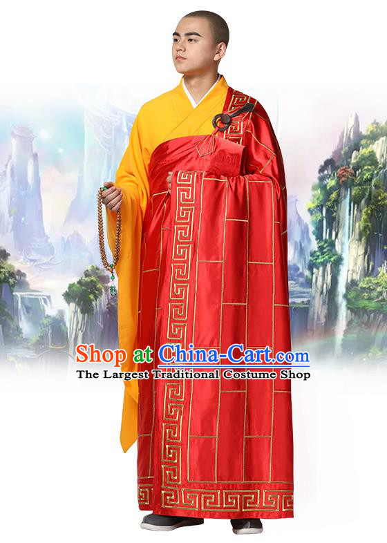 Chinese Traditional Monk Red Silk Frock Costume Buddhism Clothing Cassock Bonze Garment for Men