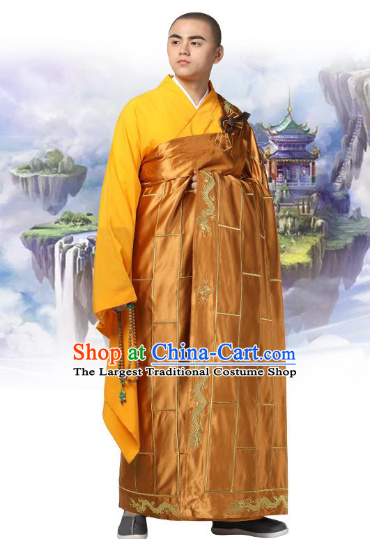 Chinese Traditional Monk Khaki Silk Frock Costume Buddhism Clothing Cassock Bonze Garment for Men
