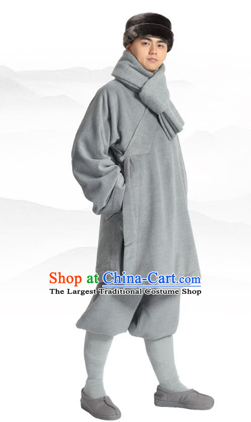 Chinese Traditional Monk Winter Grey Costume Lay Buddhist Clothing Meditation Garment Shirt and Pants for Men