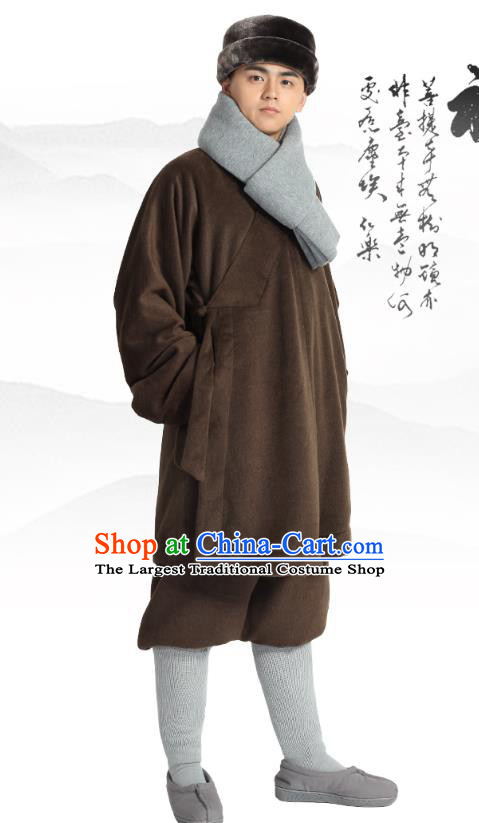 Chinese Traditional Monk Winter Brown Costume Lay Buddhist Clothing Meditation Garment Shirt and Pants for Men