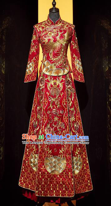 Top Grade Chinese Ancient Bride Embroidered Phoenix Xiuhe Suit Toast Red Dress Traditional Wedding Costumes for Women