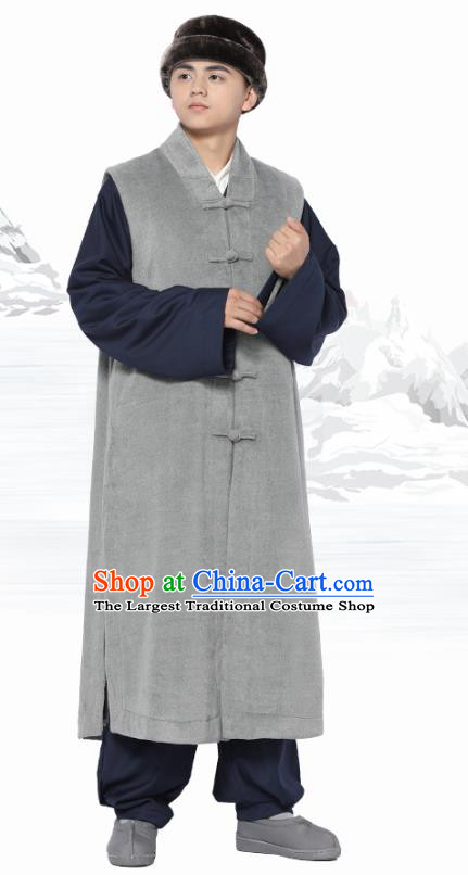 Chinese Traditional Winter Grey Long Vest Costume Meditation Garment Lay Buddhist Clothing for Men