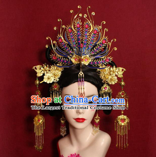 Traditional Handmade Chinese Ancient Queen Hair Accessories Cloisonn Phoenix Coronet Hair Jewelry Hair Fascinators Tassel Hairpins for Women