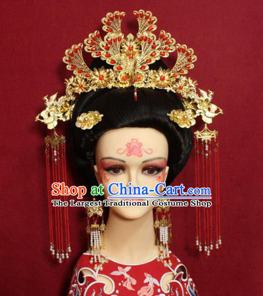 Traditional Handmade Chinese Ancient Queen Red Beads Hair Accessories Golden Phoenix Coronet Hair Jewelry Hair Fascinators Tassel Hairpins for Women