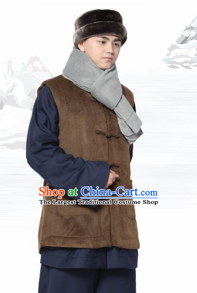 Chinese Traditional Winter Brown Vest Costume Meditation Garment Lay Buddhist Waistcoat for Men