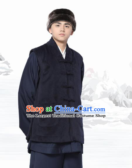 Chinese Traditional Winter Navy Vest Costume Meditation Garment Lay Buddhist Waistcoat for Men
