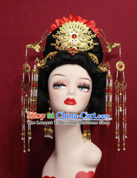 Traditional Chinese Ancient Empress Hair Accessories Phoenix Coronet Handmade Hair Jewelry Hair Fascinators Beads Tassel Hairpins for Women