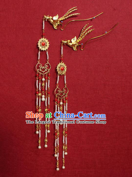 Traditional Chinese Handmade Ancient Ming Dynasty Princess Hair Accessories Golden Phoenix Tassel Hairpin for Women