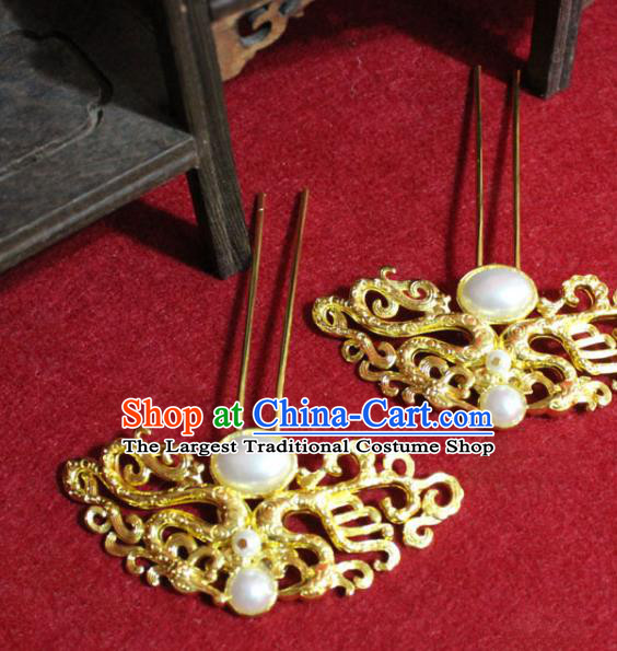 Traditional Chinese Handmade Hair Clips Ancient Princess Hair Accessories Pearl Hairpin Golden Hair Stick for Women