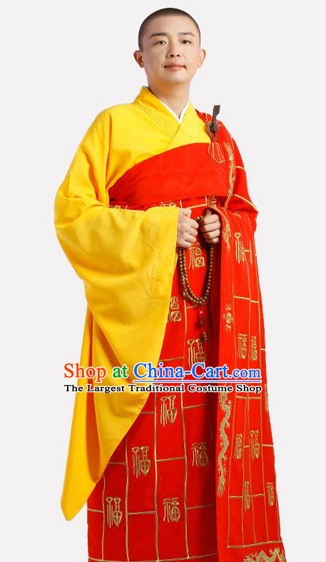 Chinese Traditional Monk Red Silk Kasaya Costume Meditation Vestment Garment Buddhist Cassock for Men