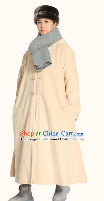 Chinese Traditional Winter Beige Cloak Costume Lay Buddhist Clothing Meditation Garment Beige Dust Coat for Men