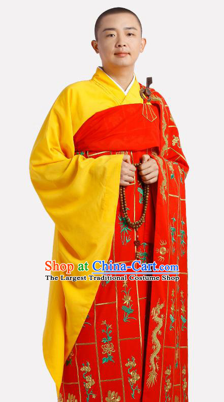 Chinese Traditional Monk Thousand Flowers Kasaya Costume Meditation Vestment Garment Buddhist Red Cassock for Men