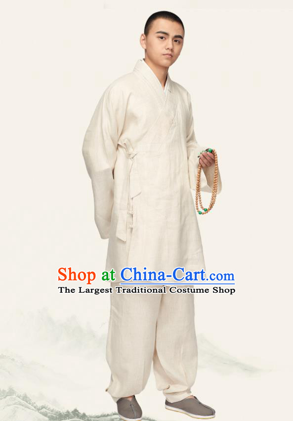 Chinese Traditional Monk White Flax Short Gown and Pants Meditation Garment Buddhist Bonze Costume for Men